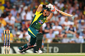 David Warner of Australia bats during the final match of the Carlton Mid One Day International series between Australia and England at the WACA on...