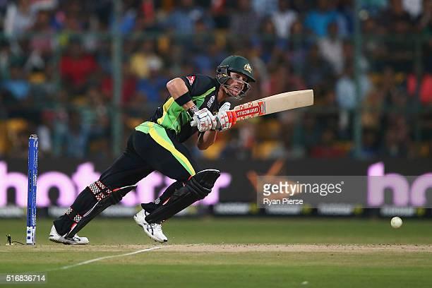 David Warner of Australia bats during the ICC World Twenty20 India 2016 Super 10s Group 2 match between Australia and Bangladesh at M Chinnaswamy...
