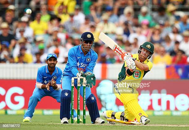 David Warner of Australia bats during the Victoria Bitter One Day International match between Australia and India at Manuka Oval on January 20 2016...