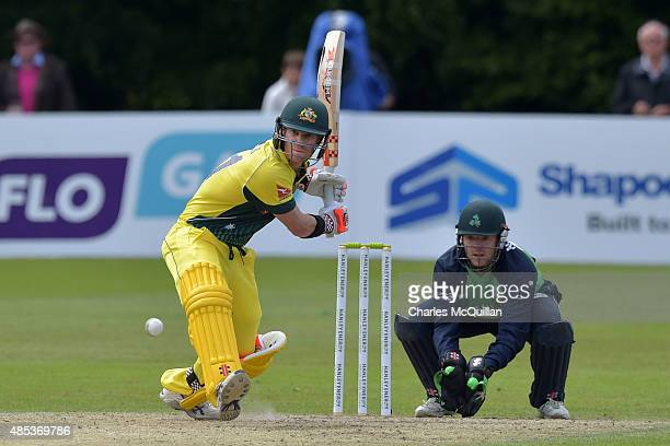 David Warner of Australia batting during the ODI cricket game between Ireland and Australia at Stormont cricket ground on August 27 2015 in Belfast...