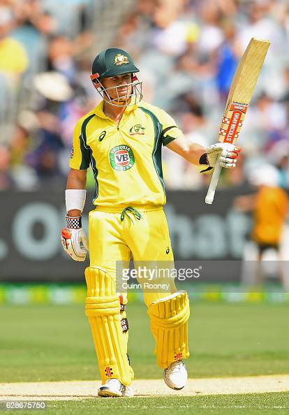 David Warner of Australia brings up his half century during game three of the One Day International series between Australia and New Zealand at...