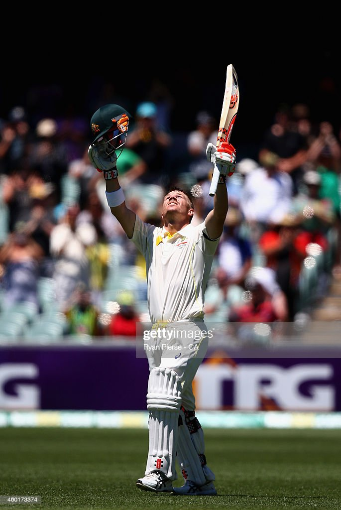 David Warner of Australia celebrates after reaching his century during day one of the First Test match between Australia and India at Adelaide Oval...