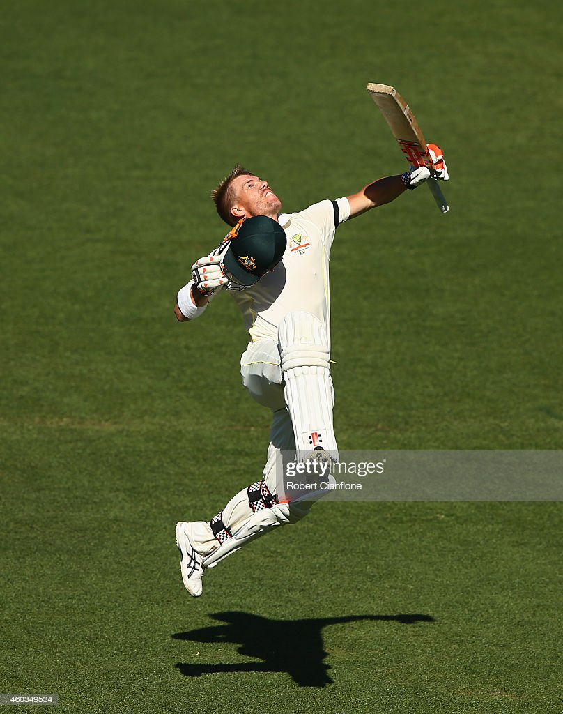 David Warner of Australia celebrates after reaching his century during day four of the First Test match between Australia and India at Adelaide Oval...