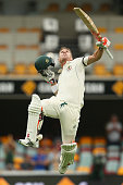 David Warner of Australia celebrates after reaching his century during day three of the First Test match between Australia and New Zealand at The...