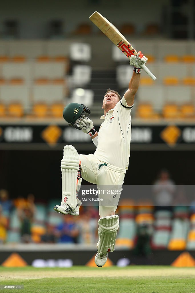 <a gi-track='captionPersonalityLinkClicked' href=/galleries/search?phrase=David+Warner+-+Cricketer&family=editorial&specificpeople=4262255 ng-click='$event.stopPropagation()'>David Warner</a> of Australia celebrates after reaching his century during day three of the First Test match between Australia and New Zealand at The Gabba on November 7, 2015 in Brisbane, Australia.