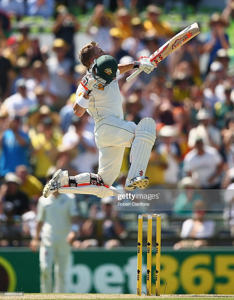 David Warner of Australia celebrates after reaching his century during day one of the second Test match between Australia and New Zealand at the WACA...