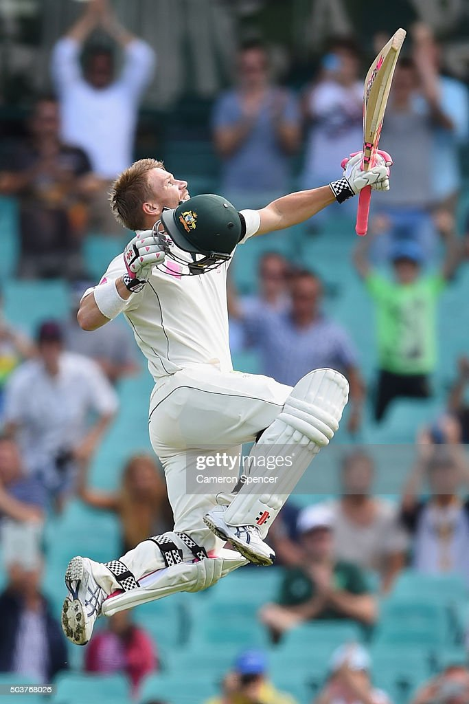 David Warner of Australia celebrates after reaching his century during day five of the third Test match between Australia and the West Indies at Sydney Cricket Ground on January 7, 2016 in Sydney, Australia.