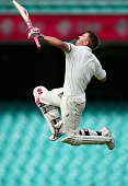 David Warner of Australia celebrates after reaching his century during day five of the third Test match between Australia and the West Indies at...