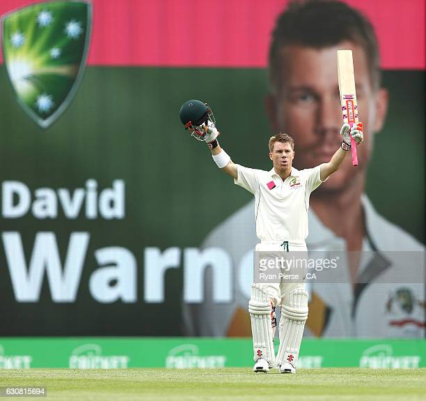 David Warner of Australia celebrates after reaching his century during day one of the Third Test match between Australia and Pakistan at Sydney...