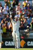 David Warner of Australia celebrates after reaching his double century during day one of the second Test match between Australia and New Zealand at...