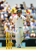 David Warner of Australia celebrates after reaching his half century during day one of the second Test match between Australia and New Zealand at the...