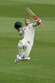 David Warner of Australia celebrates after scoring a century during day five of the third Test match between Australia and the West Indies at Sydney...