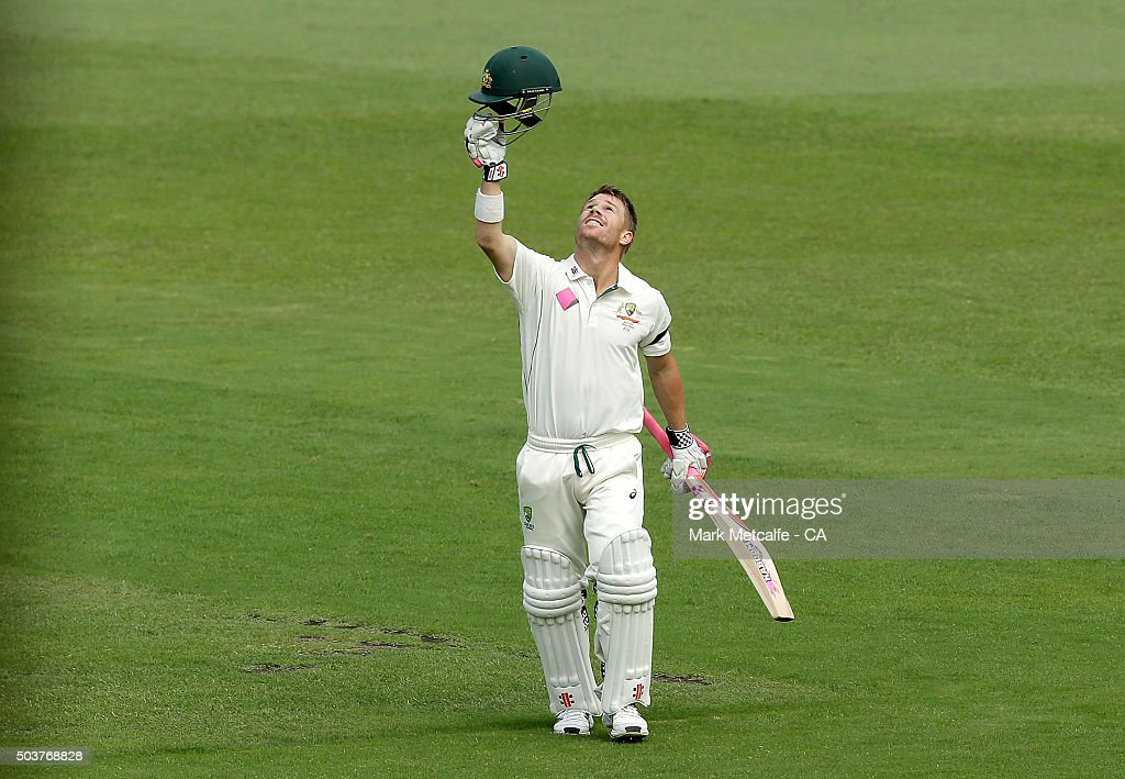 <a gi-track='captionPersonalityLinkClicked' href=/galleries/search?phrase=David+Warner+-+Cricket+Player&family=editorial&specificpeople=4262255 ng-click='$event.stopPropagation()'>David Warner</a> of Australia celebrates after scoring a century during day five of the third Test match between Australia and the West Indies at Sydney Cricket Ground on January 7, 2016 in Sydney, Australia.