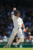David Warner of Australia celebrates after scoring his century during day one of the second Test match between Australia and New Zealand at WACA on...