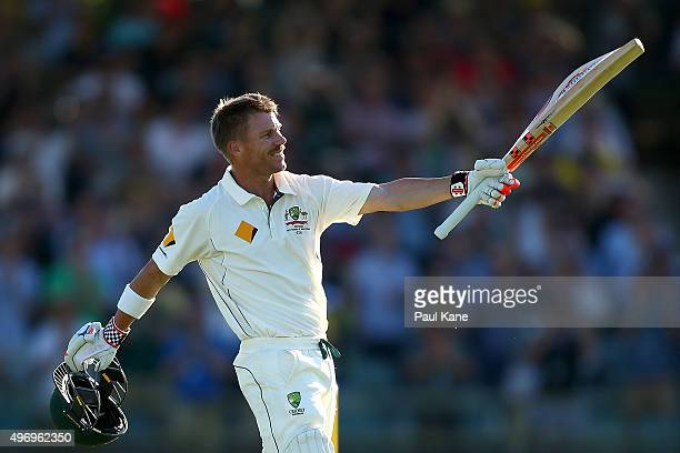 David Warner of Australia celebrates after scoring his double century during day one of the second Test match between Australia and New Zealand at...