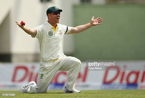 David Warner of Australia celebrates after taking a catch to dismiss Darren Bravo of West Indies off the bowling of Josh Hazlewood of Australia...