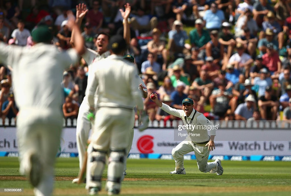 <a gi-track='captionPersonalityLinkClicked' href=/galleries/search?phrase=David+Warner+-+Cricketer&family=editorial&specificpeople=4262255 ng-click='$event.stopPropagation()'>David Warner</a> of Australia celebrates after taking a catch to dismiss Brendon McCullum of New Zealand off the bowling of <a gi-track='captionPersonalityLinkClicked' href=/galleries/search?phrase=Josh+Hazlewood&family=editorial&specificpeople=4884811 ng-click='$event.stopPropagation()'>Josh Hazlewood</a> of Australia during day one of the Test match between New Zealand and Australia at Basin Reserve on February 12, 2016 in Wellington, New Zealand.