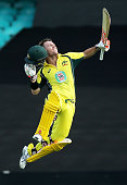 David Warner of Australia celebrates and acknowledges the crowd after scoring a century during game five of the Commonwealth Bank One Day Series...
