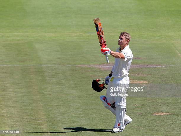 David Warner of Australia celebrates his century during day 1 of the 3rd Test match between South Africa and Australia at Sahara Park Newlands on...