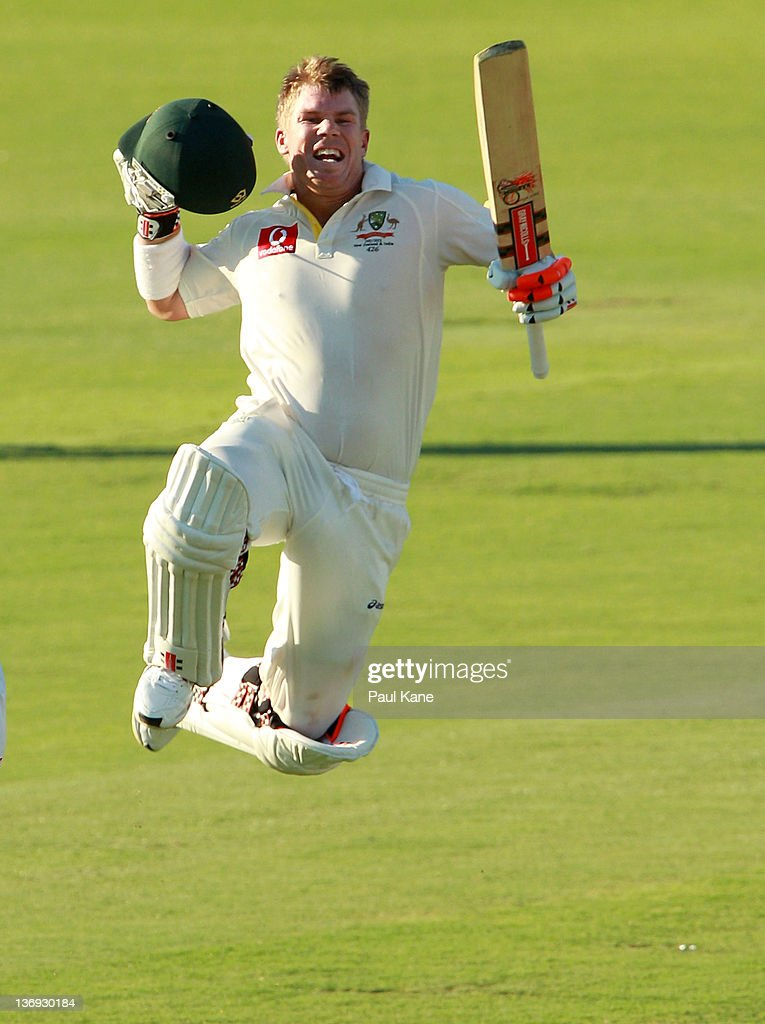 <a gi-track='captionPersonalityLinkClicked' href=/galleries/search?phrase=David+Warner+-+Cricketer&family=editorial&specificpeople=4262255 ng-click='$event.stopPropagation()'>David Warner</a> of Australia celebrates his century during day one of the third Test match between Australia and India at WACA on January 13, 2012 in Perth, Australia.