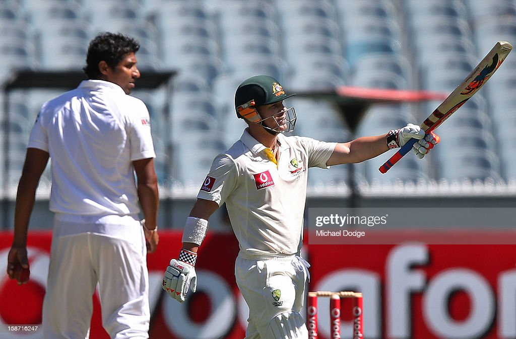 David Warner of Australia celebrates his half century during day one of the Second Test match between Australia and Sri Lanka at Melbourne Cricket Ground on December 26, 2012 in Melbourne, Australia.