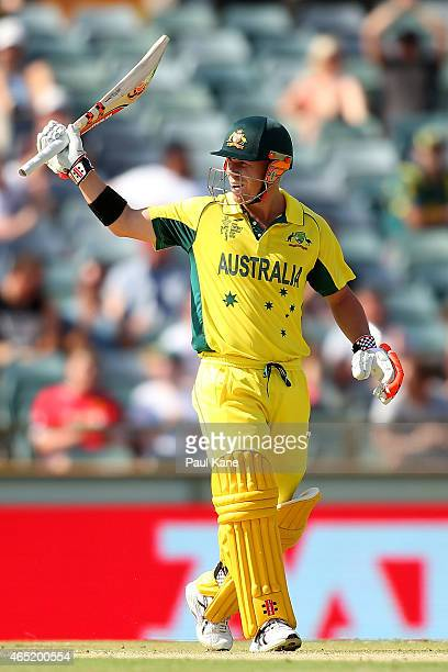 David Warner of Australia celebrates his half century during the 2015 ICC Cricket World match between Australia and Afghanistan at WACA on March 4...