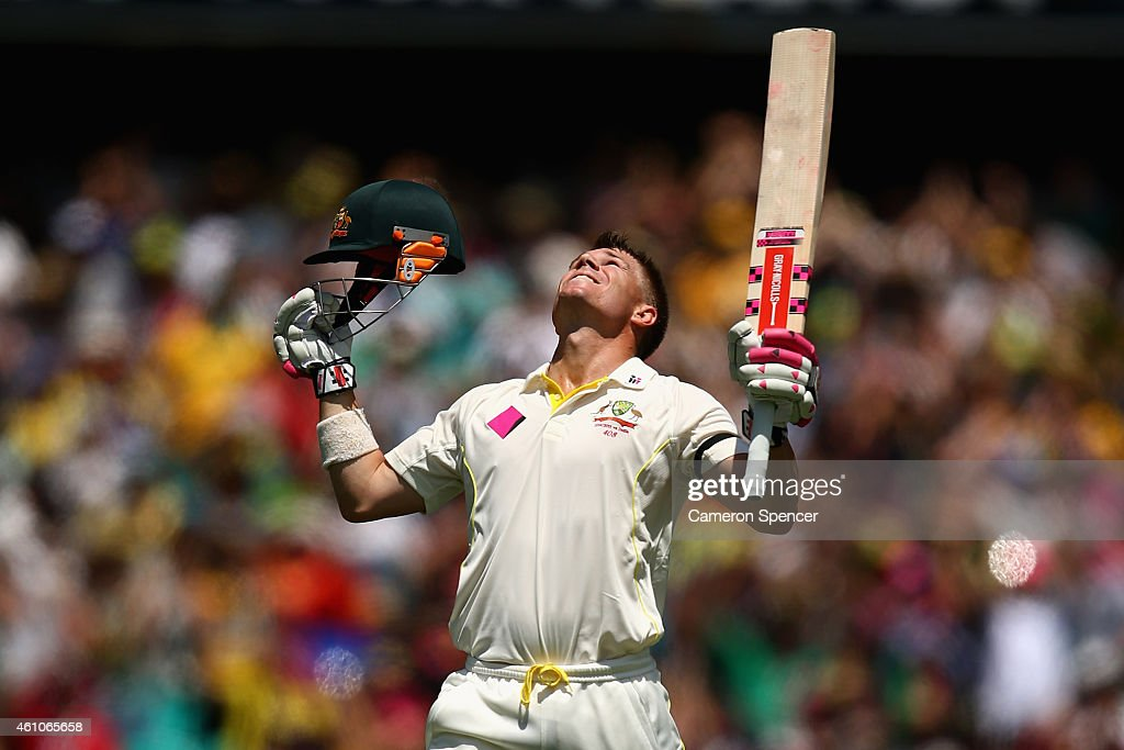 David Warner of Australia celebrates scoring a century during day one of the Fourth Test match between Australia and India at Sydney Cricket Ground...