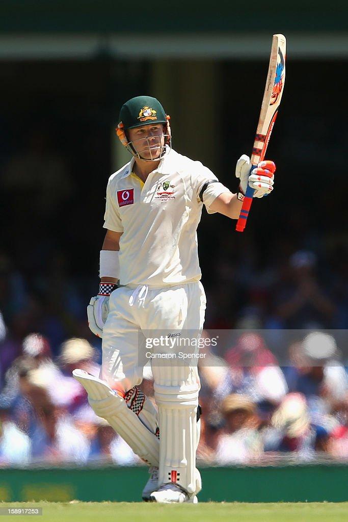 David Warner of Australia celebrates scoring fifty runs during day two of the Third Test match between Australia and Sri Lanka at Sydney Cricket Ground on January 4, 2013 in Sydney, Australia.