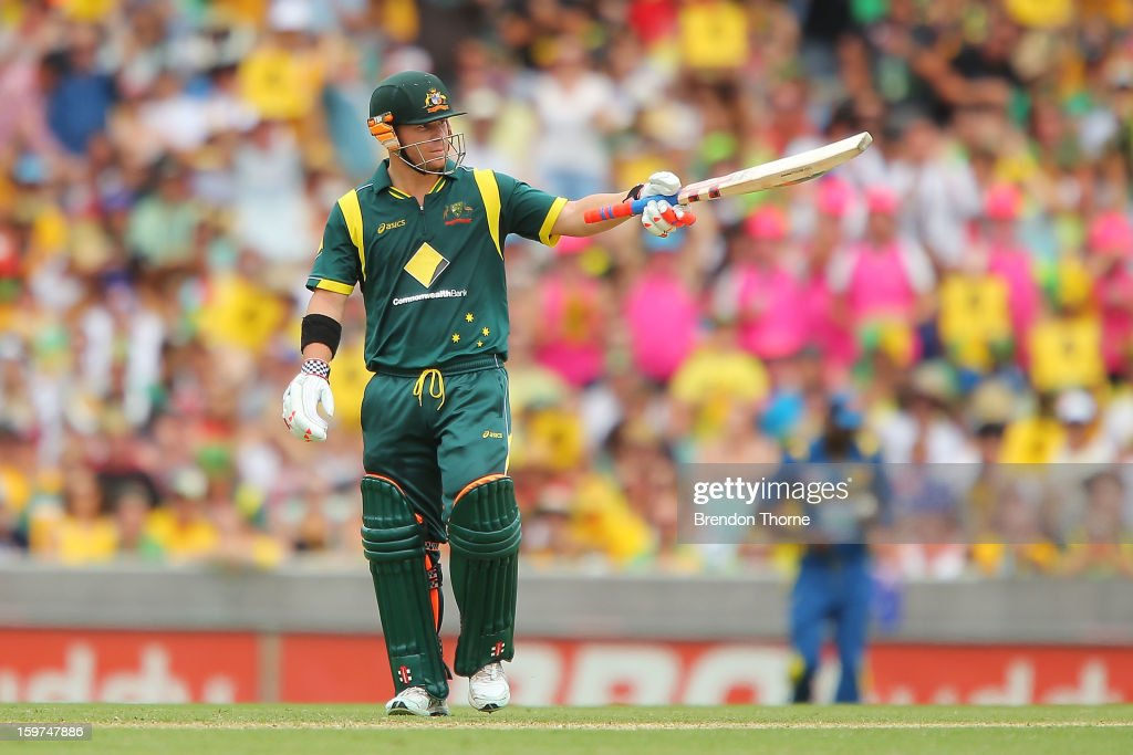 David Warner of Australia celebrates scoring his half century during game four of the Commonwealth Bank one day international series between Australia and Sri Lanka at Sydney Cricket Ground on January 20, 2013 in Sydney, Australia.