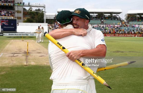 David Warner of Australia celebrates victory during day five of the Third Ashes Test Match between Australia and England at WACA on December 17 2013...