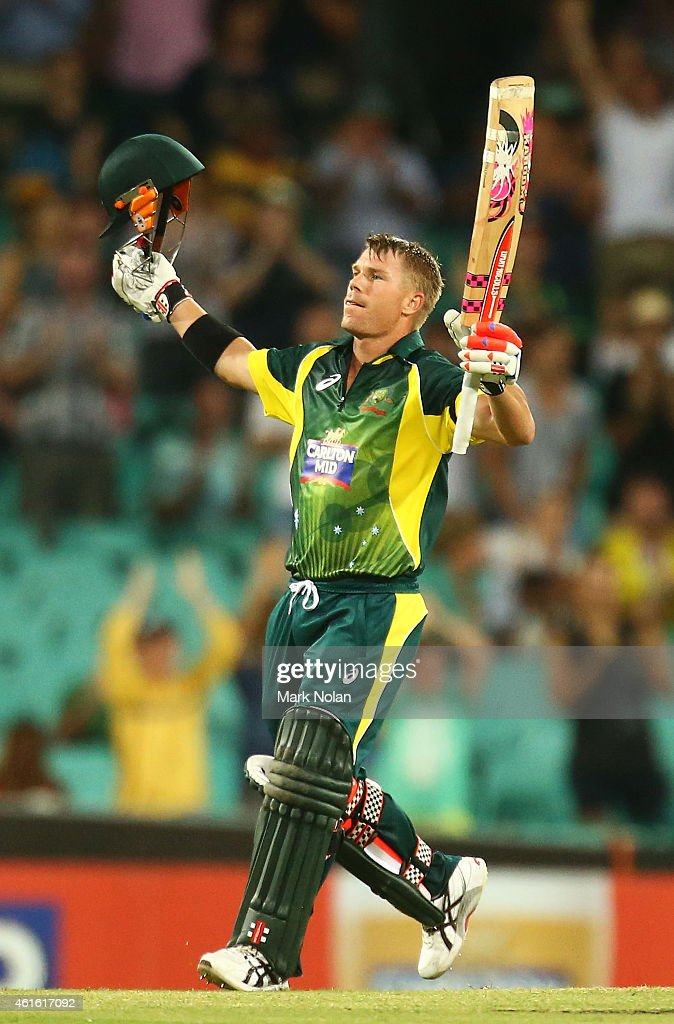 <a gi-track='captionPersonalityLinkClicked' href=/galleries/search?phrase=David+Warner+-+Cricketer&family=editorial&specificpeople=4262255 ng-click='$event.stopPropagation()'>David Warner</a> of Australia celebrtaes scoring a century during the One Day International series match between Australia and England at Sydney Cricket Ground on January 16, 2015 in Sydney, Australia.
