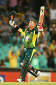 David Warner of Australia celebrtaes scoring a century during the One Day International series match between Australia and England at Sydney Cricket...