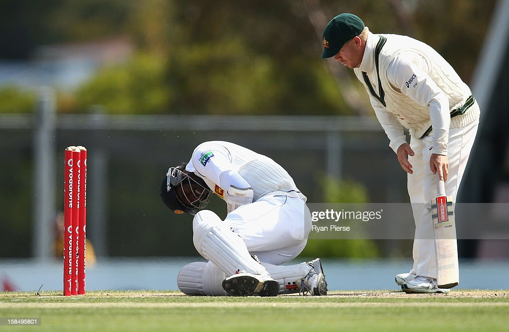 David Warner of Australia checks on Angelo Mathews of Sri Lanka after he was hit by a ball from Mitchell Starc of Australia during day five of the First Test match between Australia and Sri Lanka at Blundstone Arena on December 18, 2012 in Hobart, Australia.