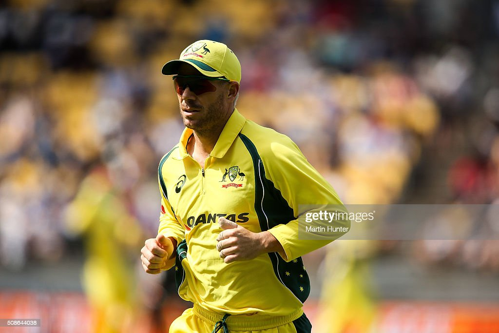 David Warner of Australia fields during game two of the one day international series between New Zealand and Australia at Westpac Stadium on February 6, 2016 in Wellington, New Zealand.