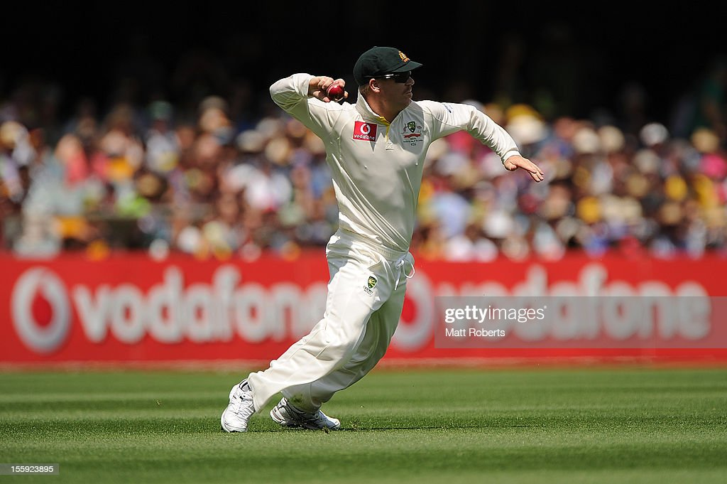 David Warner of Australia fields the ball during day one of the First Test match between Australia and South Africa at The Gabba on November 9, 2012 in Brisbane, Australia.