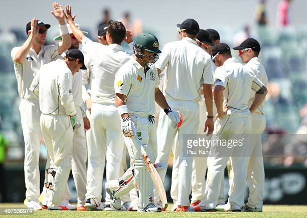 David Warner of Australia heads to the rooms after being dimissed by Trent Boult of New Zealand during day four of the second Test match between...