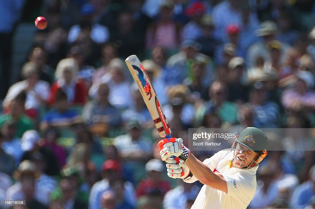 David Warner of Australia hits a boundary during day one of the Second Test match between Australia and Sri Lanka at Melbourne Cricket Ground on December 26, 2012 in Melbourne, Australia.