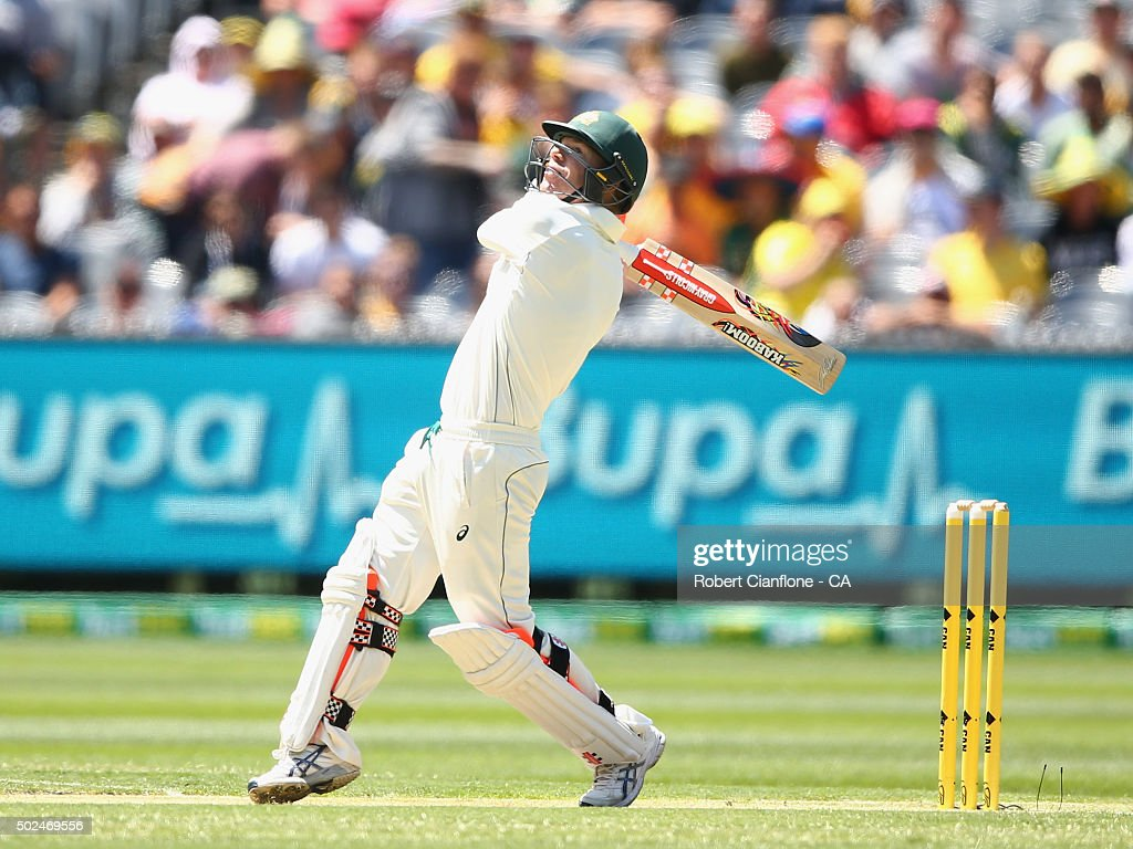 <a gi-track='captionPersonalityLinkClicked' href=/galleries/search?phrase=David+Warner+-+Cricket+Player&family=editorial&specificpeople=4262255 ng-click='$event.stopPropagation()'>David Warner</a> of Australia hits out during day one of the Second Test match between Australia and the West Indies at the Melbourne Cricket Ground on December 26, 2015 in Melbourne, Australia.