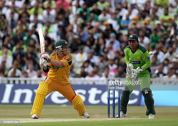 David Warner of Australia hits out during the International Twenty20 match between Pakistan and Australia at Edgbaston on July 5 2010 in Birmingham...