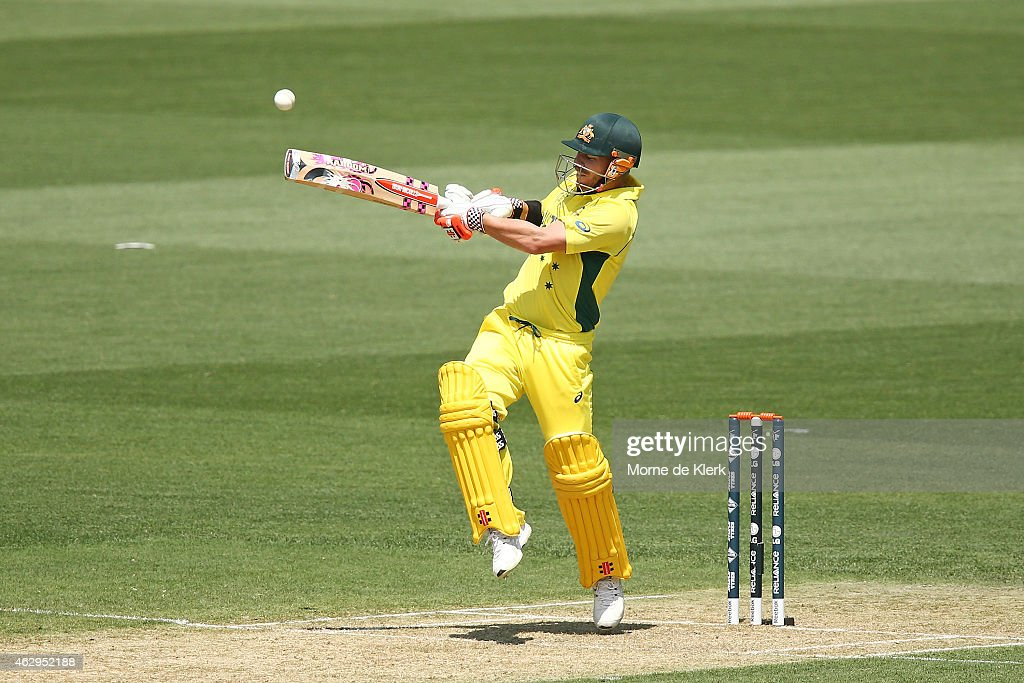 <a gi-track='captionPersonalityLinkClicked' href=/galleries/search?phrase=David+Warner+-+Cricketer&family=editorial&specificpeople=4262255 ng-click='$event.stopPropagation()'>David Warner</a> of Australia hits six runs during the ICC Cricket World Cup warm up match between Australia and India at Adelaide Oval on February 8, 2015 in Adelaide, Australia.