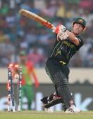 David Warner of Australia is out bowled during the ICC World Twenty20 Bangladesh 2014 match between Bangladesh and Australia at ShereBangla Mirpur...