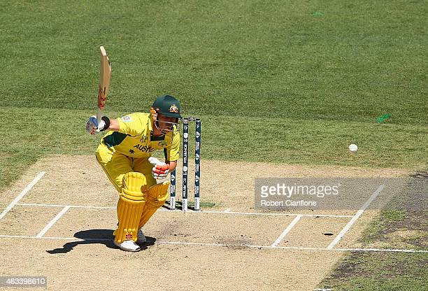 David Warner of Australia is struck by a delivery from Stuart Broad of England during the 2015 ICC Cricket World Cup match between England and...