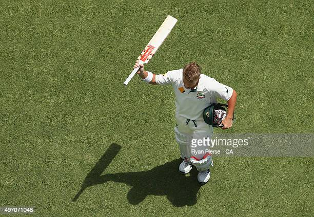David Warner of Australia leave the ground after being dismissed for 253 runs by Trent Boult of New Zealand during day two of the second Test match...