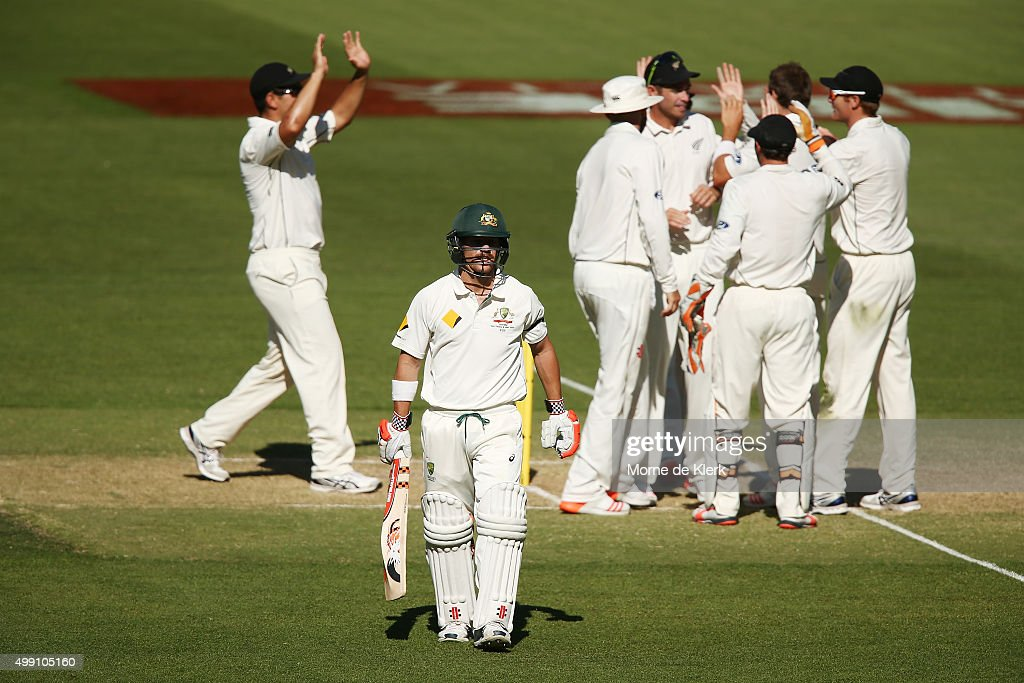 <a gi-track='captionPersonalityLinkClicked' href=/galleries/search?phrase=David+Warner+-+Cricketer&family=editorial&specificpeople=4262255 ng-click='$event.stopPropagation()'>David Warner</a> of Australia leaves the field after getting out to <a gi-track='captionPersonalityLinkClicked' href=/galleries/search?phrase=Doug+Bracewell&family=editorial&specificpeople=6680321 ng-click='$event.stopPropagation()'>Doug Bracewell</a> of New Zealand during day three of the Third Test match between Australia and New Zealand at Adelaide Oval on November 29, 2015 in Adelaide, Australia.