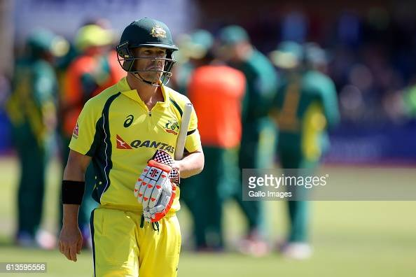 David Warner of Australia leaves the field during the Momentum ODI Series 4th ODI match between South Africa and Australia at St Georges Park on...