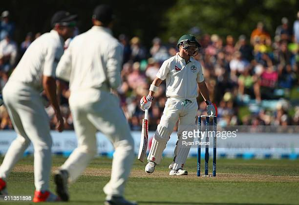 David Warner of Australia looks dejected after being dismissed by Trent Boult of New Zealand during day one of the Test match between New Zealand and...