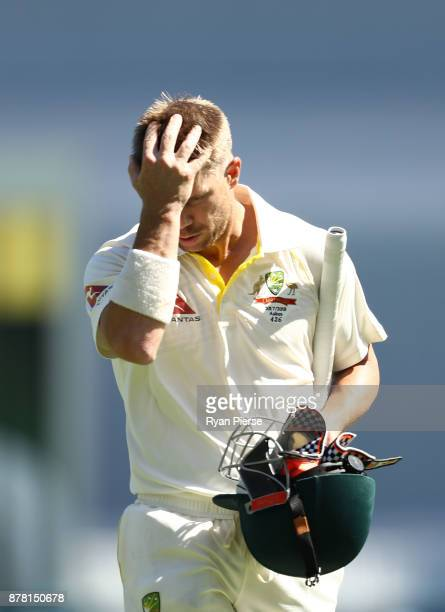 David Warner of Australia looks dejected after being dismissed by Jake Ball of England during day two of the First Test Match of the 2017/18 Ashes...