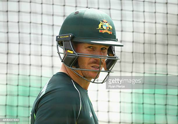 David Warner of Australia looks on during a nets session ahead of the 4th Investec Ashes Test match between England and Australia at Trent Bridge on...