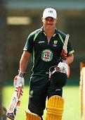 David Warner of Australia looks on during an Australian nets session at Sydney Cricket Ground on March 25 2015 in Sydney Australia