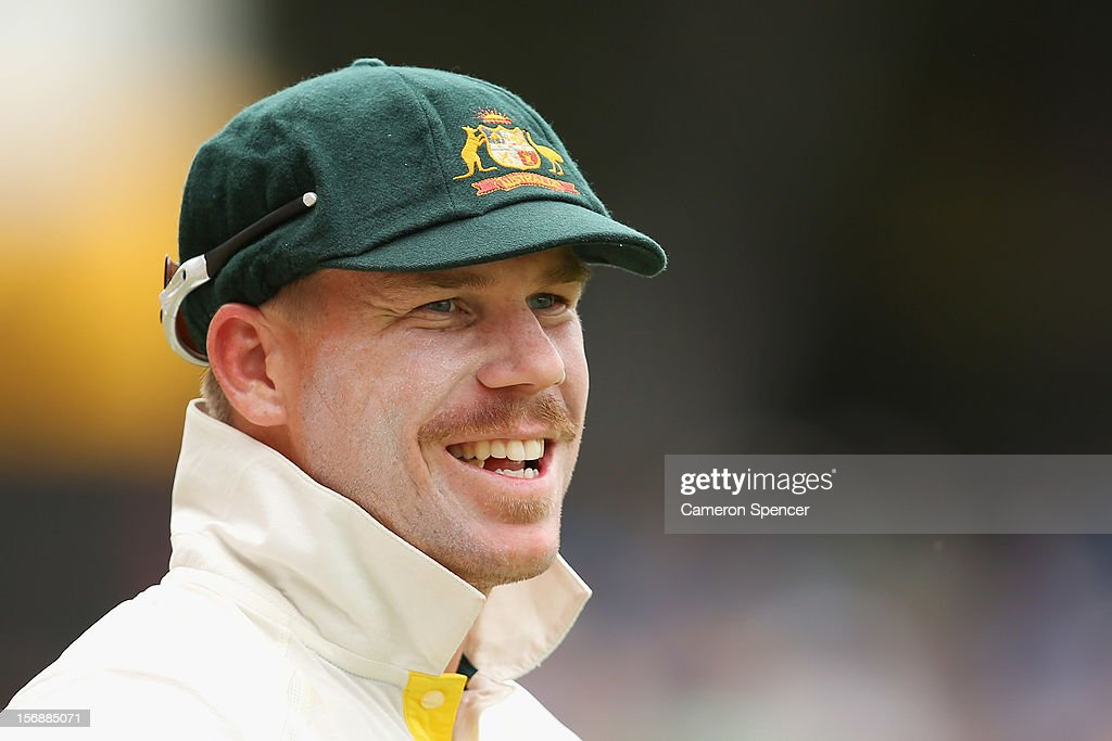 David Warner of Australia looks on during day three of the Second Test Match between Australia and South Africa at Adelaide Oval on November 24, 2012 in Adelaide, Australia.